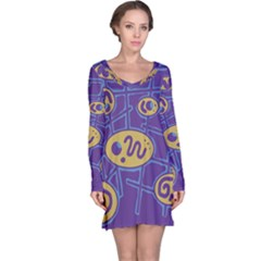 Purple And Yellow Abstraction Long Sleeve Nightdress