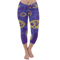 Purple And Yellow Abstraction Capri Winter Leggings  by Valentinaart