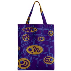 Purple And Yellow Abstraction Zipper Classic Tote Bag by Valentinaart