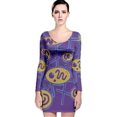 Purple And Yellow Abstraction Long Sleeve Velvet Bodycon Dress by Valentinaart