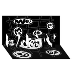 Black And White Crazy Abstraction  Party 3d Greeting Card (8x4) by Valentinaart