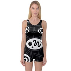 Black And White Crazy Abstraction  One Piece Boyleg Swimsuit by Valentinaart
