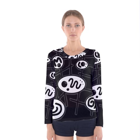 Black And White Crazy Abstraction  Women s Long Sleeve Tee by Valentinaart
