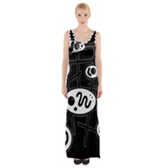 Black And White Crazy Abstraction  Maxi Thigh Split Dress by Valentinaart
