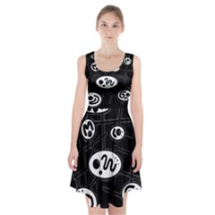 Black And White Crazy Abstraction  Racerback Midi Dress