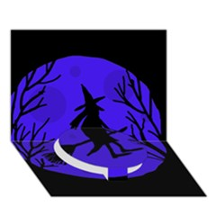 Halloween Witch   Blue Moon Circle Bottom 3d Greeting Card (7x5) by Valentinaart