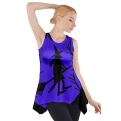 Halloween Witch   Blue Moon Side Drop Tank Tunic by Valentinaart
