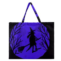 Halloween Witch   Blue Moon Zipper Large Tote Bag by Valentinaart
