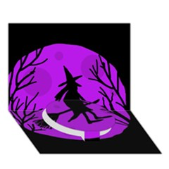 Halloween Witch   Purple Moon Circle Bottom 3d Greeting Card (7x5)