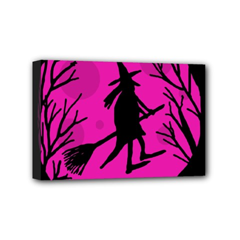 Halloween Witch   Pink Moon Mini Canvas 6  X 4  by Valentinaart