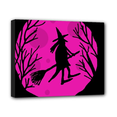 Halloween Witch   Pink Moon Canvas 10  X 8