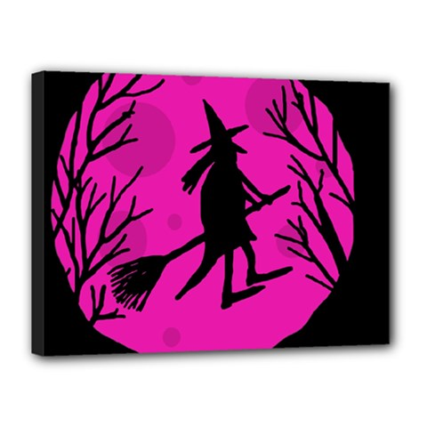 Halloween Witch   Pink Moon Canvas 16  X 12  by Valentinaart