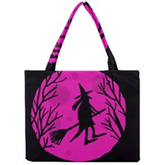 Halloween Witch   Pink Moon Mini Tote Bag by Valentinaart
