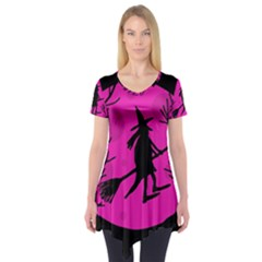 Halloween Witch   Pink Moon Short Sleeve Tunic  by Valentinaart