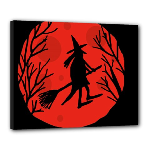 Halloween Witch   Red Moon Canvas 20  X 16  by Valentinaart