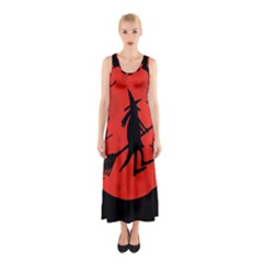 Halloween Witch   Red Moon Sleeveless Maxi Dress by Valentinaart