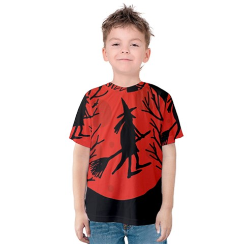 Halloween Witch - Red Moon Kid s Cotton Tee by Valentinaart