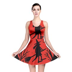 Halloween Witch   Red Moon Reversible Skater Dress by Valentinaart