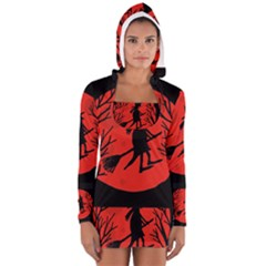Halloween Witch   Red Moon Women s Long Sleeve Hooded T Shirt by Valentinaart