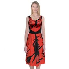 Halloween Witch - Red Moon Midi Sleeveless Dress by Valentinaart