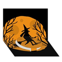 Halloween Witch   Orange Moon Circle Bottom 3d Greeting Card (7x5) by Valentinaart