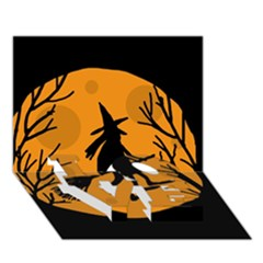 Halloween Witch   Orange Moon Love Bottom 3d Greeting Card (7x5) by Valentinaart