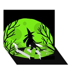 Halloween Witch   Green Moon Love Bottom 3d Greeting Card (7x5)