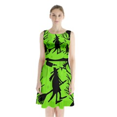 Halloween Witch   Green Moon Sleeveless Chiffon Waist Tie Dress