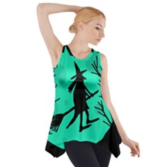 Halloween Witch   Cyan Moon Side Drop Tank Tunic by Valentinaart