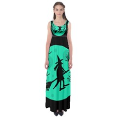 Halloween Witch - Cyan Moon Empire Waist Maxi Dress by Valentinaart