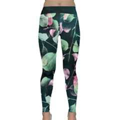 Modern Green And Pink Leaves Yoga Leggings  by DanaeStudio