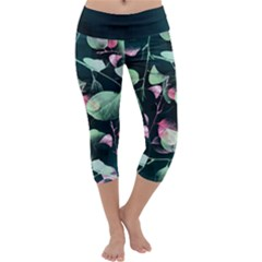 Modern Green And Pink Leaves Capri Yoga Leggings by DanaeStudio