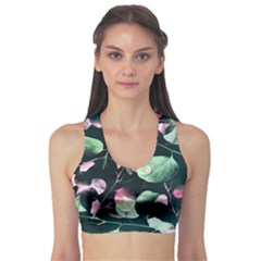 Modern Green And Pink Leaves Sports Bra by DanaeStudio
