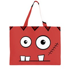 Halloween Frankenstein   Red Zipper Large Tote Bag