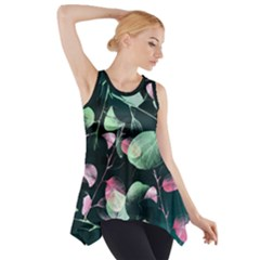Modern Green And Pink Leaves Side Drop Tank Tunic by DanaeStudio