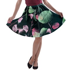 Modern Green And Pink Leaves A Line Skater Skirt