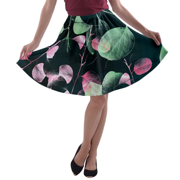 Modern Green and Pink Leaves A-line Skater Skirt