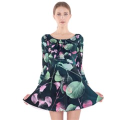 Modern Green And Pink Leaves Long Sleeve Velvet Skater Dress