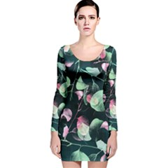 Modern Green And Pink Leaves Long Sleeve Velvet Bodycon Dress