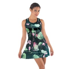 Modern Green And Pink Leaves Cotton Racerback Dress by DanaeStudio