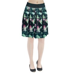 Modern Green And Pink Leaves Pleated Skirt by DanaeStudio