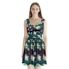 Modern Green And Pink Leaves Split Back Mini Dress