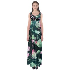 Modern Green And Pink Leaves Empire Waist Maxi Dress