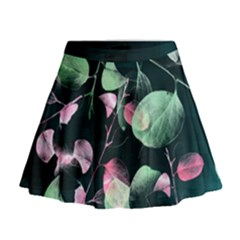 Modern Green And Pink Leaves Mini Flare Skirt by DanaeStudio