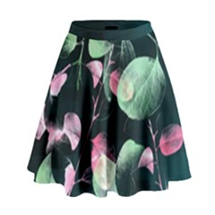 Modern Green And Pink Leaves High Waist Skirt by DanaeStudio