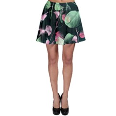 Modern Green And Pink Leaves Skater Skirt by DanaeStudio