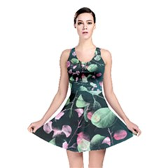Modern Green And Pink Leaves Reversible Skater Dress by DanaeStudio