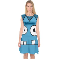 Halloween Frankenstein   Blue Capsleeve Midi Dress