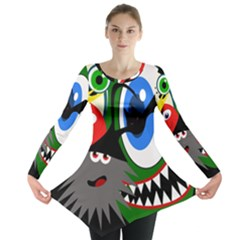 Halloween Monsters Long Sleeve Tunic  by Valentinaart