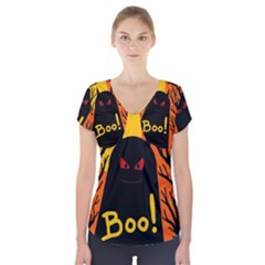 Halloween Monster Short Sleeve Front Detail Top